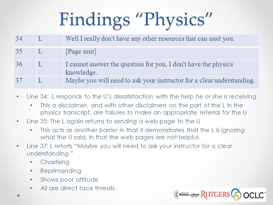 Findings Physics 34. L. Well I really don t have any other resources that can assit you. 35. [Page sent]